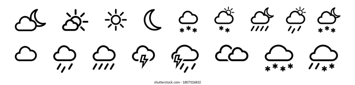 Set of weather vector line icons, contains symbols of the sun, clouds, snowflakes