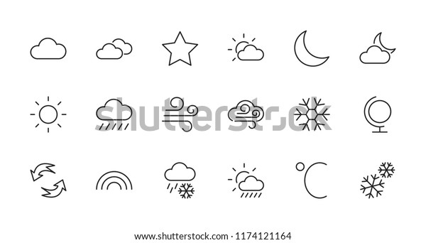 Set Weather Vector Line Icons Contains Stock Vector (Royalty