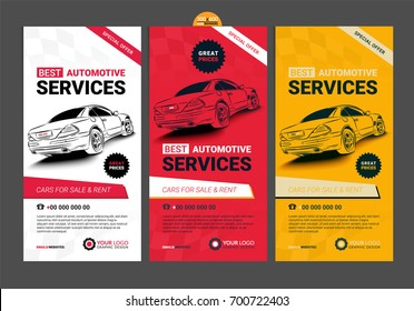A Set of web Automotive services banners collection layouts.