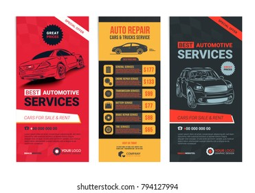 A Set of web Automotive services banners collection layouts.Vector illustration.