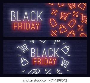 Set web banner Black Friday. Neon sign. Web banner, logo, emblem and label. Neon sign, bright signboard, light banner.
