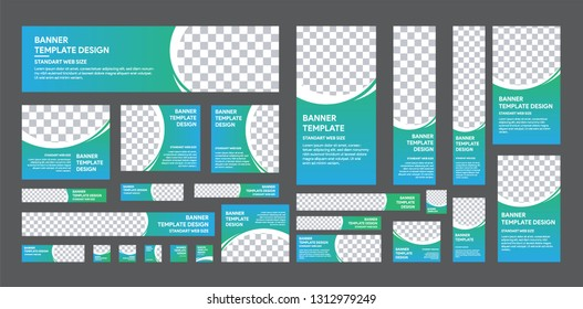 set of web banner of standard size with a place for photos. Vertical, horizontal and square template with white and gradient green to blue color