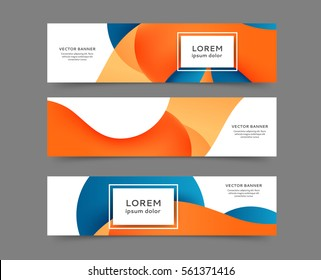 Set of web banner templates for your site or blog with abstract lines and waves