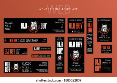 Set of Web banners, advertising Templates , Red, White and Black swatch color, restaurant, food, pit-bull, business, marketing, promotion, hot design.Vector Templates