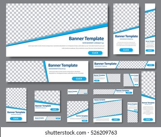 Set of web banners of different standard sizes. Templates with a blue stripe and place for photos, buttons. Vector illustration.