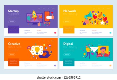 Set of web banners digital marketing start up support creative decisions and internet promotion isolated vector illustration