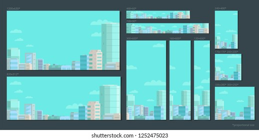 Set of web banners. Panorama city on the blue sky. Standard sizes for advertising in social networks and search engines.
