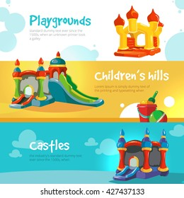 Set of web banners with pictures of inflatable castles.