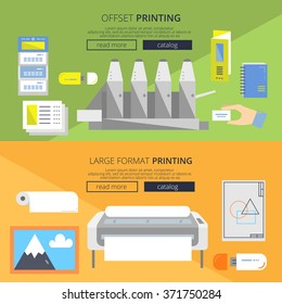 Set of web banners for print shop, copy center and publishing house in flat style. Offset printing and large format printing illustrations with infographic elements.