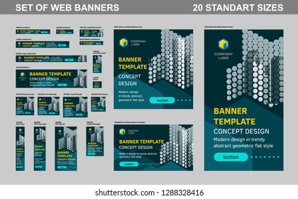 Set of web banners of standard size. Templates are optimized for social media networks, ads, mobile app. Trendy minimalist flat geometric design.