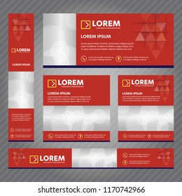 Set of web banners in standard sizes. Vector Abstract Templates design With background and header, diagonal stripes and button.
