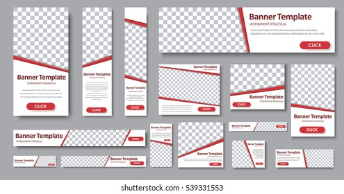 Set of web banners in standard sizes. Templates with place for photo and diagonal stripes and button. Vector illustration