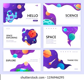 set of web banners templates. presentation. space explore. children cartoon vector art illustration. science