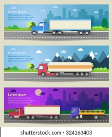 Set of web banners trucks. Color flat icons. Dump truck, tank, gasoline, truck, container, delivery, city, logistics. Vector illustration