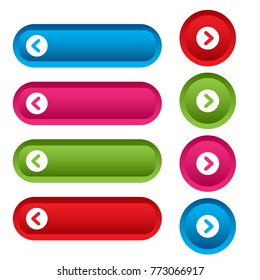 Set of web buttons with arrows, colorful long round buttons. Vector illustration
