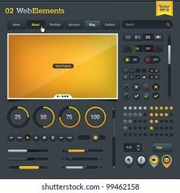 Set of web design elements