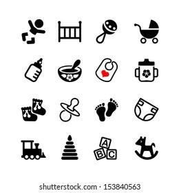 Set web icon. Baby, suckling, child