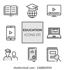 set of web icons of 8 pieces on the topic of online learning with an example of colored substrates