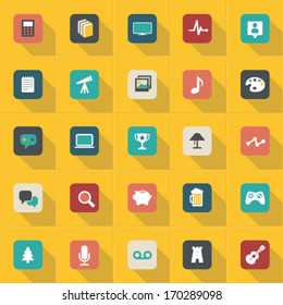 Set of web icons flat vector with shadow effect in stylish colors of web design objects and items for mobile devices and interfaces. Graphic Design Editable For Your Design.