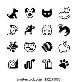 Set of web icons. Pet shop, types of pets.