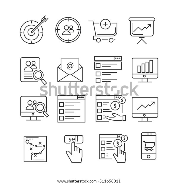 Set Web Marketing Related Vector Line Stock Vector (Royalty
