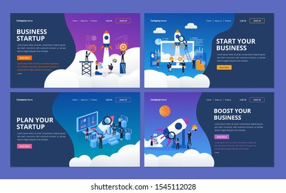 Set of web page design template for startup business company, project management. Illustration for website and mobile website development
