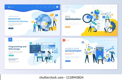 Set of web page design templates. Modern vector illustration concepts for website and mobile website development, SEO, mobile apps, business solutions. Easy to edit and customize.