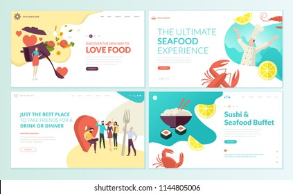 Set of web page design templates for restaurant, seafood, sushi, food and drink. Vector illustration concepts for website and mobile website development.