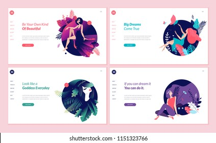 Set of web page design templates for beauty, spa, wellness, natural products, cosmetics, body care, healthy life. Flat design vector illustration concepts for website and mobile website development.