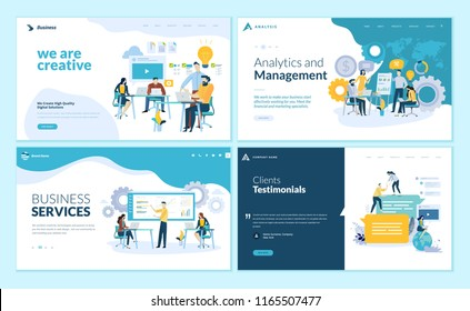 Set of web page design templates for creative and innovative solutions, business services, management and analytics, testimonials. Modern vector illustration concepts for website development.