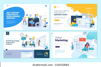 Set of web page design templates for web and mobile apps, SEO, marketing strategy, video marketing . Modern vector illustration concepts for website and mobile website development.