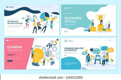 Set of web page design templates for teamwork, project management, business workflow, customer relationship management. Modern vector illustration concepts for website and mobile website development.