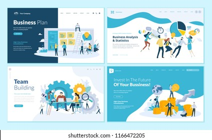 Set of web page design templates for business plan, analysis and statistics, team building, consulting. Modern vector illustration concepts for website and mobile website development.
