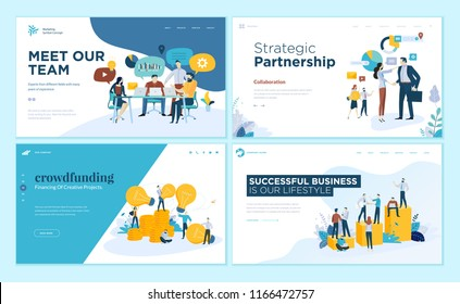 Set of web page design templates for our team, meeting and brainstorming, strategic partnership, crowdfunding, business success. Vector illustration concepts for website and mobile website development