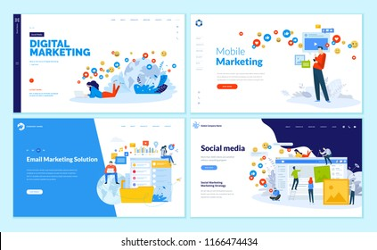 Set of web page design templates for social media, online marketing and communication. Modern vector illustration concepts for website and mobile website development.