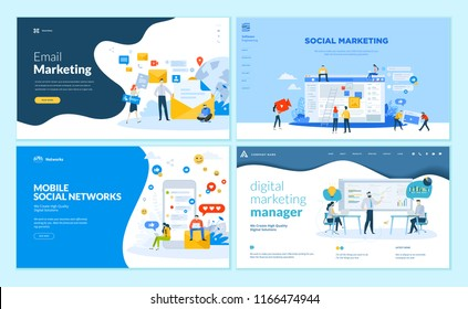 Set of web page design templates for mobile social network, internet marketing solutions. Modern vector illustration concepts for website and mobile website development.