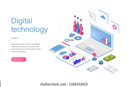 Set of web page design templates for online shopping, digital marketing, teamwork, business strategy and analytics. Modern vector illustration concepts for website and mobile website development