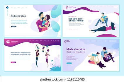Set of web page design templates for family doctor, pediatric clinic, healthy life. Modern vector illustration concepts for website and mobile website development.