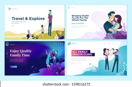Set of web page design templates for family health care, travel and enjoying family activities. Modern vector illustration concepts for website and mobile website development.