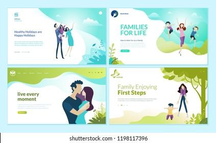 Set of web page design templates for happy family, family vacation, baby care. Modern vector illustration concepts for website and mobile website development.