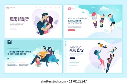 Set of web page design templates for family fun and entertainment, children's activities, healthy and safe environment for the family. Modern vector illustration concepts for website development.
