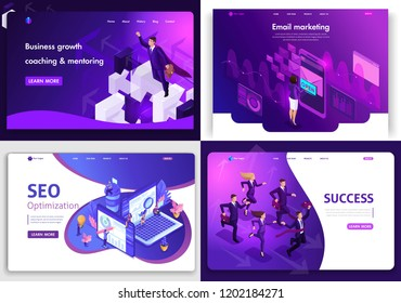 Set of web page design templates for business, digital marketing, succes, business growth. Vector illustration concepts for website and mobile website development