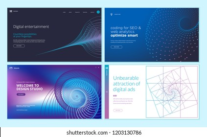 Set of web page design templates with abstract background for digital entertainment, design studio, seo, digital marketing. Vector illustration concepts for website and mobile website development.