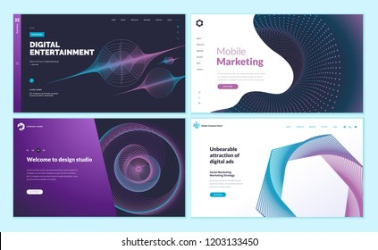 Set of web page design templates with abstract background for mobile marketing, social marketing, design studio, digital entertainment. Vector illustration concepts for website development.