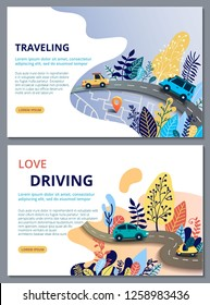 Set of web page design templates for travelling, journey, trip, car tour, roads and auto. Street Map with navigation icons. Navigation concept. Vector illustratio