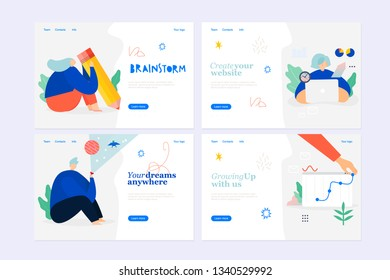Set of web page design templates, digital marketing, brainstorm, VR and future business strategy and analytics. Modern vector illustration concepts for website and mobile website development.