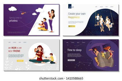 Set of web page design templates for family, happiness, parenthood, childhood, family planning, values, holidays, serenity. Perfect for in posters, banners, website developments.