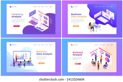 Set of web page design templates for data analysis, digital marketing, teamwork, business strategy and analysis. Modern vector illustration concepts for website and mobile website development.