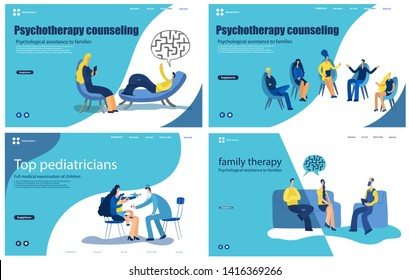 Set of web page design templates for Psychology service.  Consultation talking to psychologist. , private counseling, family psychology concept. Website landing web page template. Vector illustration