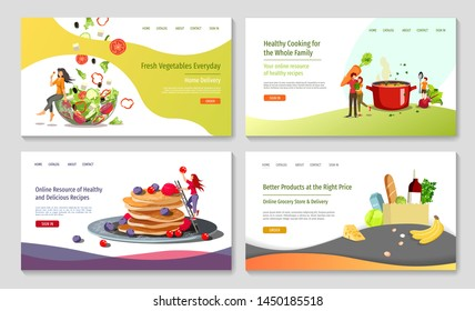 Set of web page design templates for Healthy cooking, recipes, fresh vegetables, grocery store or market . Vector illustration in a flat style can be used for poster, banner, website, presentation.